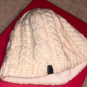 The North Face white knit hat